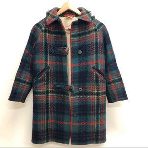 Vintage 60s Irish wool tweed plaid jacket coat